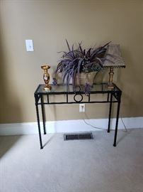 Small wrought iron table with glass top
