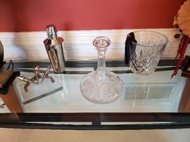 Decanter, champagne bucket, and other bar accessories