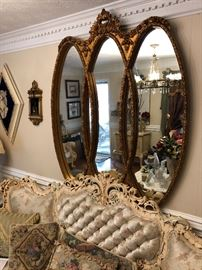 Vintage 3 oval gilded mirror
