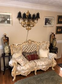 Heavily carved Provencial Love seat, sofa, and chair livingroom suite