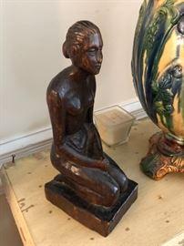 """10"""" carved vintage wooden statue"""