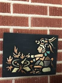 Copper and natural stone mosiac plaque