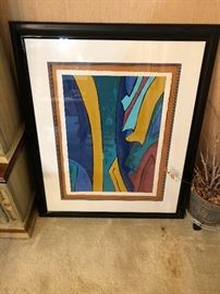 "Original Multimedia Abstract Framed Art by S. Lux  38x46""  Titled ""Breeze"""
