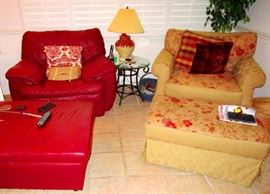 Palliser red leather sofa chair and ottoman