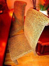 Jaguar pattern dinning chairs   4 each