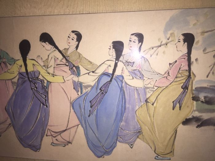 """PAIR OF LARGEORIGINAL ASIANPAINTINGS IN GOLD LEAF FRAME: Dimensions: Width: 62"""". Height: 19""""."""