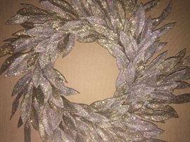 """*NEW WITH TAGS* BEAUTIFUL GOLD AND SILVER GLITTER YEAR-ROUND WREATH: Barney's.Diameter is 22"""" from widest leaf. Excellent, new condition."""