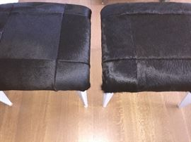 """*NEW*PAIR OF DESIGNER MODERN PONY-HAIROTTOMANS/END TABLES: Made by Century Furniture. Black pony-hair seat withgraylegs. Width:23"""". Depth:23"""". Height: 19"""".Excellent, newcondition."""