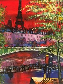 """ORIGINAL, SIGNED OIL ON CANVAS PAINTING OF PARIS: Dimensions including frame:Length: 16"""". Width: 14"""". Excellent condition."""