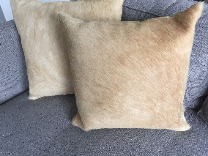 PAIR OF MITCHELL GOLD BOB WILLIAMS PONY HAIR GOLD DOWN-STUFFED PILLOWS: Excellent condition.