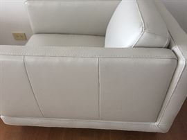 """CLASSIC LEATHER SILVER CLUB/LOUNGE CHAIRS: Gorgeous, the MOST comfortable, sleek and chic, timeless. Dimensions: Height: 28"""". Width: 32"""". Depth: 41"""". Buy one or all.Excellent, pristine,clean condition.From the New York City Design Center. This ones a no brainer! Same or next day delivery."""