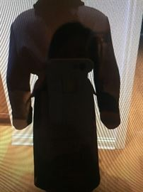 """LADIES BEAUTIFUL LONG ITALIAN WOOL COAT WITH FUR COLLAR,FROM SAKS FIFTH AVENUE: Dark Navy wrap coat with belt. No buttons. Approximate measurements:Shoulder to shoulder: 20"""". Sleeve: 23.5"""". Waist: 50"""". Length: 50"""". Lightweight but warm coat. Wear3 seasons. Light overall wear. In good condition.Prepare for fall/winter now with this incredible coat!$225.00."""