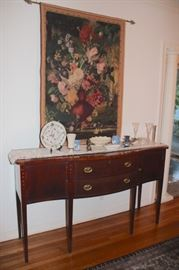 Server and Tapestry with Decorative Items