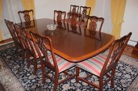 Chippendale Dining Room Table with 8 Chairs