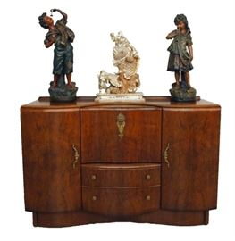 Walnut Art Deco Sideboard, Pair of Plaster Sculptures, Chinese Bone Carving