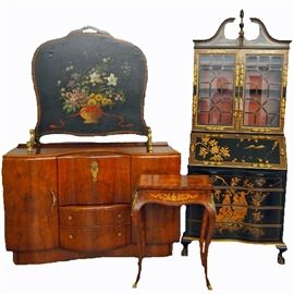 Chinoiserie Secretary,  Art Deco Sideboard, Firescreen, Parlor Table