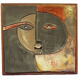 "Stoneware Tile by Doug Laird - ""1978"", measures 10 1/2"" by 11"""