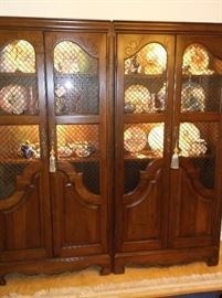 Pair of gorgeous two door lighted cabinets
