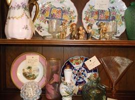 Nippon, Old Paris, Imari, Anri carved figures, Stueben fan vases