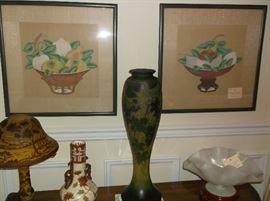 Fruit water colors on silk, Daum Nancy lamp and vase, Stueben bowl