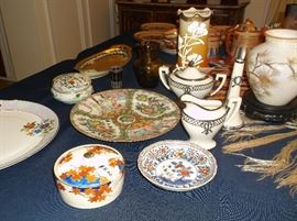 Coralene vase, Belleek sugar, creamer, & vase, Rose Medallion plate