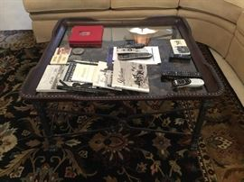 "Coffee table with leather nailhead around eves 40"" squre"