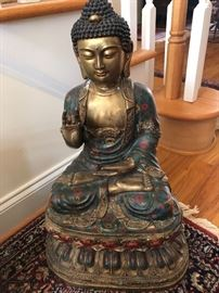 Mudra Buddha -  Large, Cast, Gilt, Hand Painted