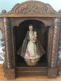 Hand Carved, Polychrome, Madonna and Child