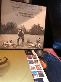 "Original, Signed, George Harrison, ""All Things Must Pass"" Vinyl Collection.  Received on visit to the White House 1974."