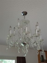 2-CRYSTAL CHANDELIERS - THEY WILL BE AVAILABLE FOR PICK UP THE DAY AFTER THE SALE.  WILL NEED TO BE DISCONNECTED.