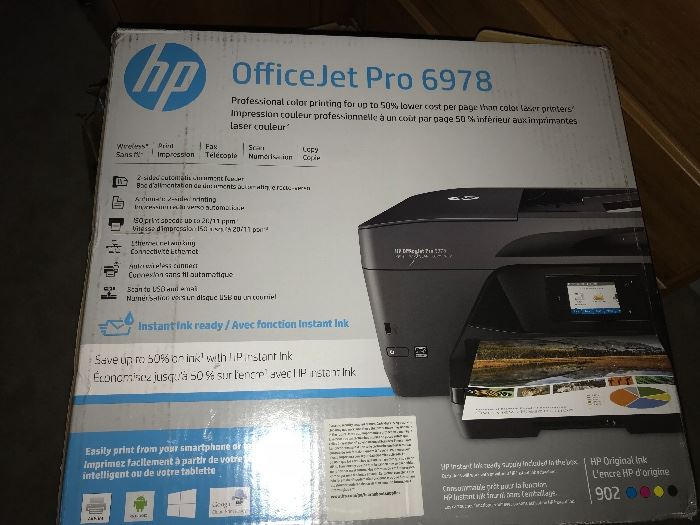 Wireless All in one HP printer. Less than a year old. Also has several ink cartridges and all the wires. Works with mobile devices like iPads.