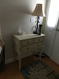 Front entry table and lamp.
