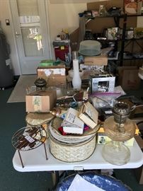 Various household items (folding table not for sale). Full set of Christmas holly dishes.