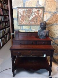 Antique Desk and Nude Bust by Suzanne Kerr.