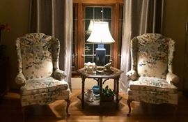 Pristine Queen Anne Cream & Blue Floral Chairs with hardwood feet