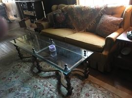 Very Heavy Mid-Century Glass Top Coffee Table.  Going out the door Sunday!