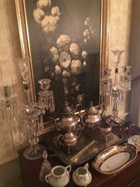 A pair of stunning crystal candelabras