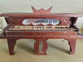 Wood piano sewing box antique