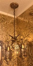 Goldtone Chandelier with Angel holding two lanterns