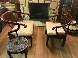 Asian Arm Chairs and Carved Side Table