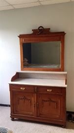 Washstand with antique mirror