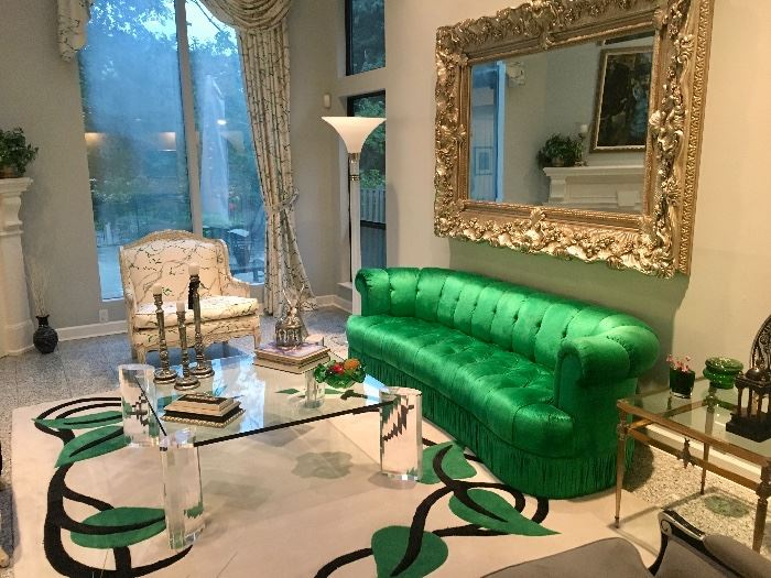 ALL VINTAGE 1970 - Emerald green silk velvet sofa, modernist glass top coffee table, huge Baroque silver mirror & co ordinating  oversized chair