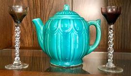 Czech Stemmed Cordials, Green Pottery Tea Pot