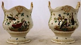 Pair Meissen painted vases