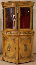 French Empire bow front corner cabinet