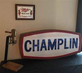 """Large Old Champlin Gas Sign (48"""" X 22"""" X 6.5"""")"""