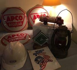 APCO Premium & Regular, Genuine KC Royals AstroTurf w/ COA, 1980 Royals World Series Program, Champlin Hardhat, Antique Lantern, Danbury Mint Budweiser Truck.