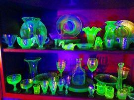 Uranium glass becomes fluorescent under UV light