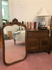 Vintage oak stand and oak mirror