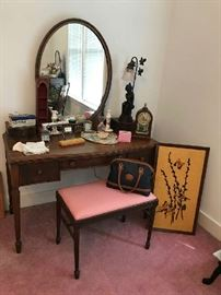 Antique Dresser with Matching Stool. Lots of nice smalls